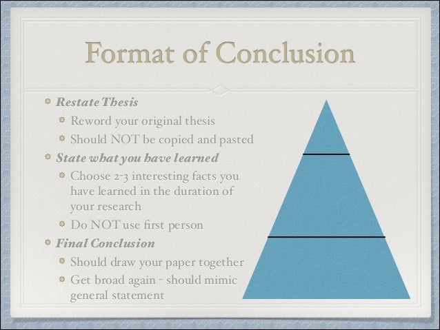 reworded thesis conclusion Vi conclusion (should be powerful and leave a lasting impression) a reworded thesis statement/claim b one or more of the following: call to action (what is the next logical step) examples: our responsibility is research the subject solution c clincher statement (tie it back to the lead—this rounds everything out for.