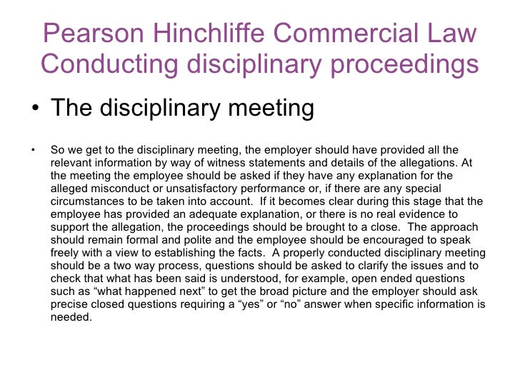 11 Pearson Hinchliffe Commercial Law Conducting Disciplinary