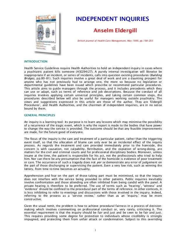 INDEPENDENT INQUIRIES                                                     Anselm Eldergill                                ...