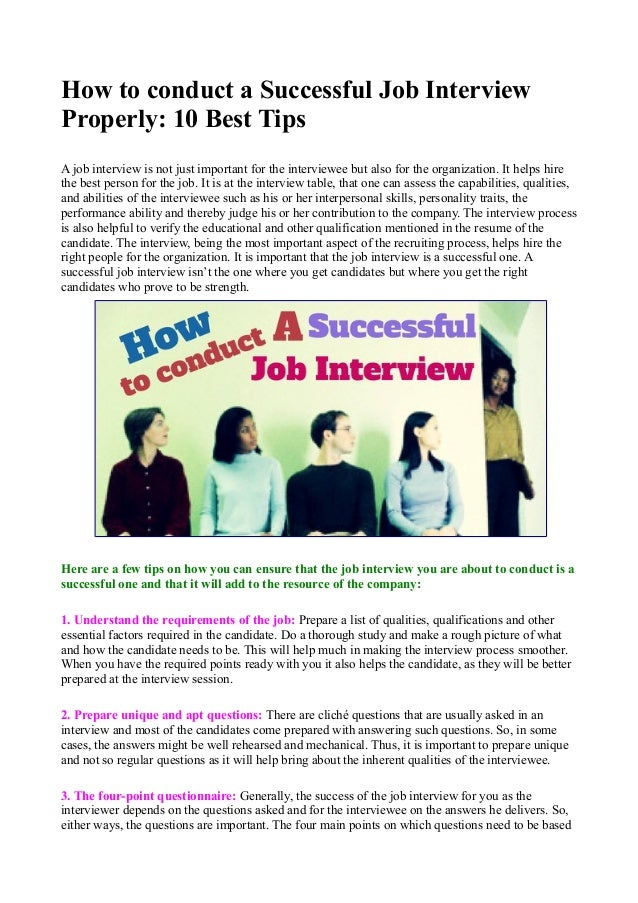 Lovely How To Conduct A Successful Job Interview Properly: 10 Best Tips A Job  Interview Is ...
