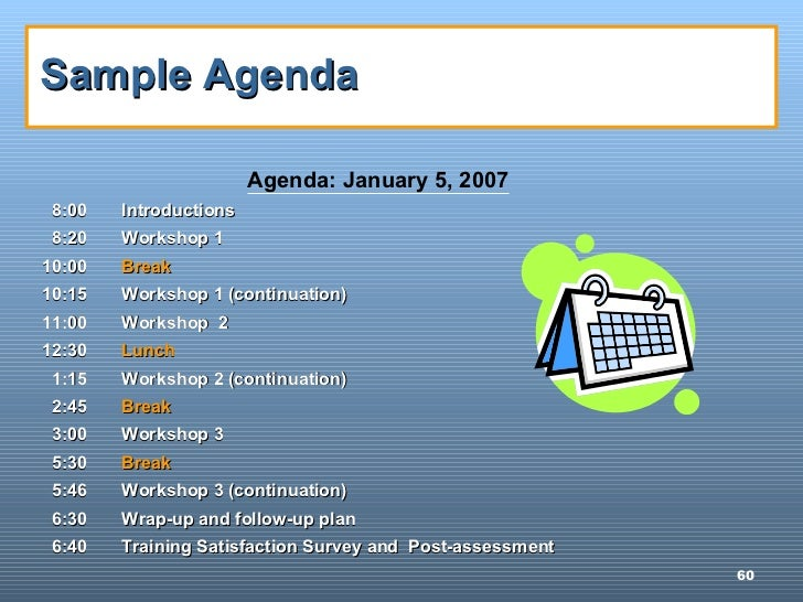 Howto Conduct Training – Training Agenda Sample