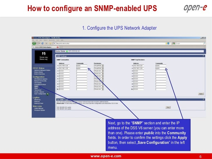 How to configure an snmp enabled ups ccuart Images