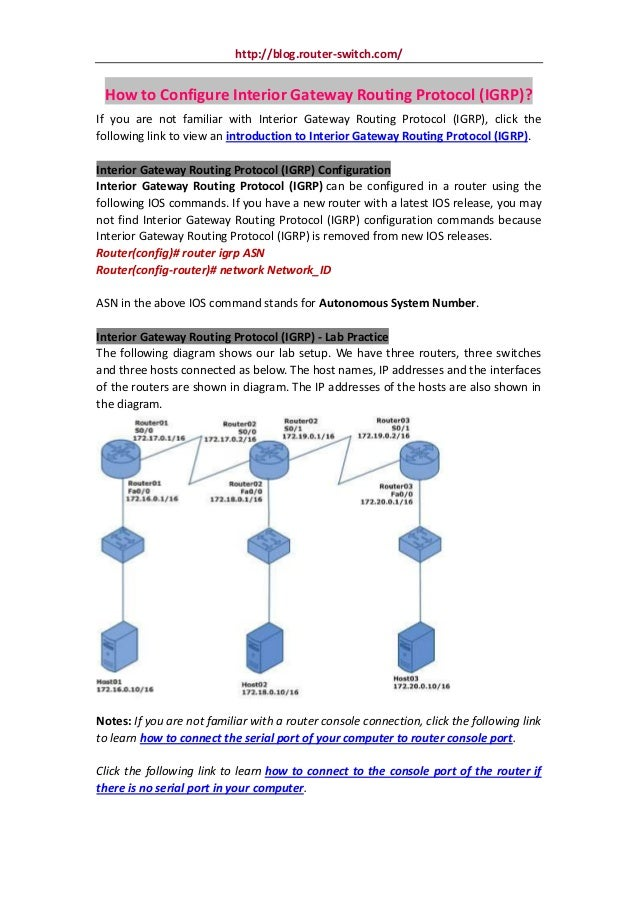 How to configure interior gateway routing protocol (igrp)