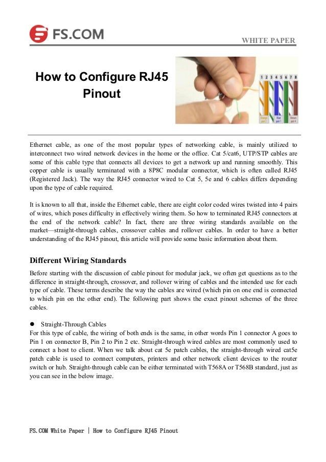 How to configure rj45 pinout Wiring Rj on