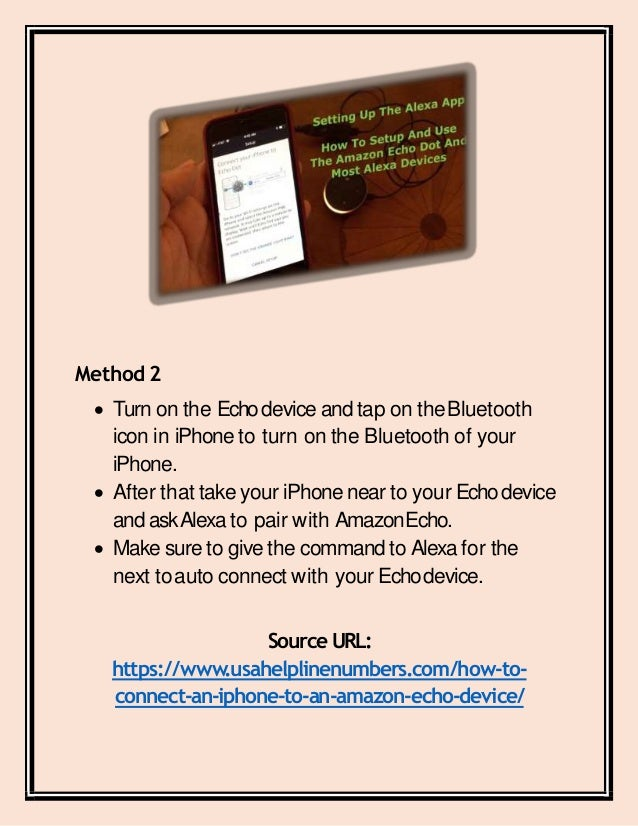 How to connect an i phone to an amazon echo device converted