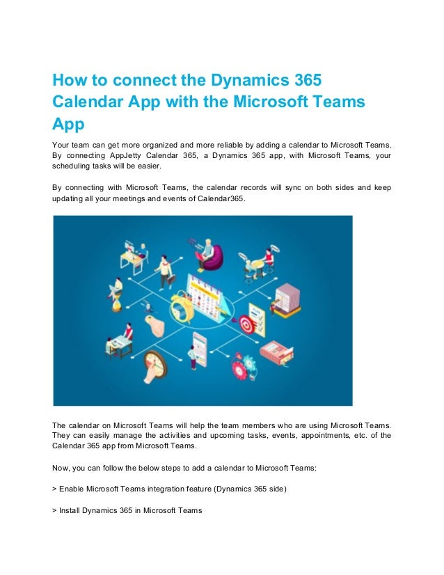 How to connect the Dynamics 365 Calendar App with the Microsoft Teams App Your team can get more organized and more reliab...