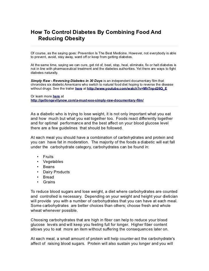 How To Control Diabetes By Combining Food And Reducing Obesity
