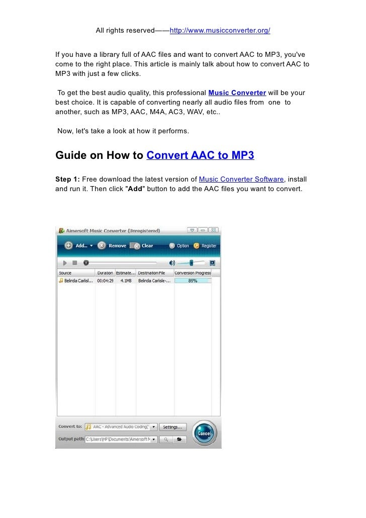 How to convert aac to mp3