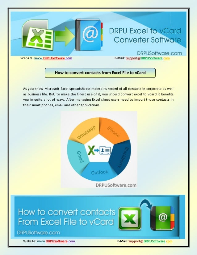 How to convert contacts from excel file to vCard