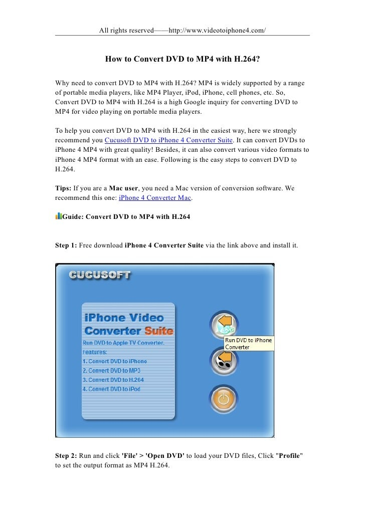 All rights reserved——http://www.videotoiphone4.com/                   How to Convert DVD to MP4 with H.264?  Why need to c...