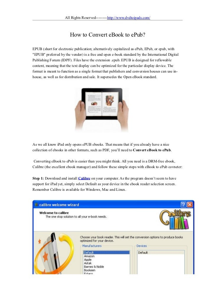 How to convert ebook to epub