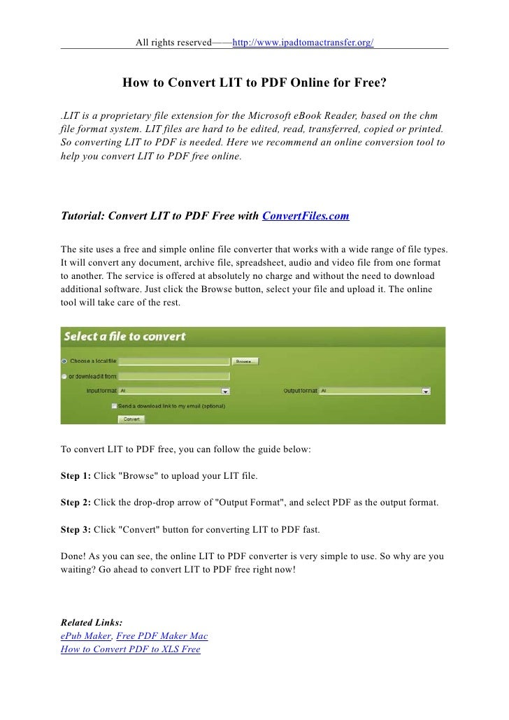 how to convert lit to pdf online for free. Black Bedroom Furniture Sets. Home Design Ideas
