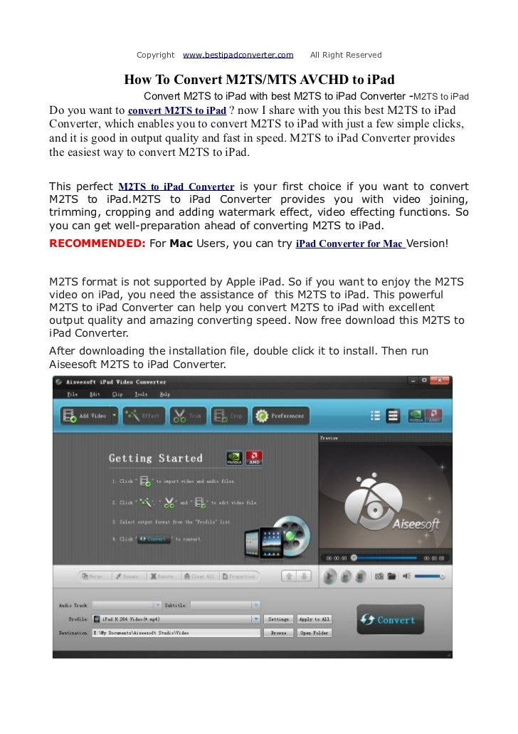 Copyright   www.bestipadconverter.com   All Right Reserved               How To Convert M2TS/MTS AVCHD to iPad            ...