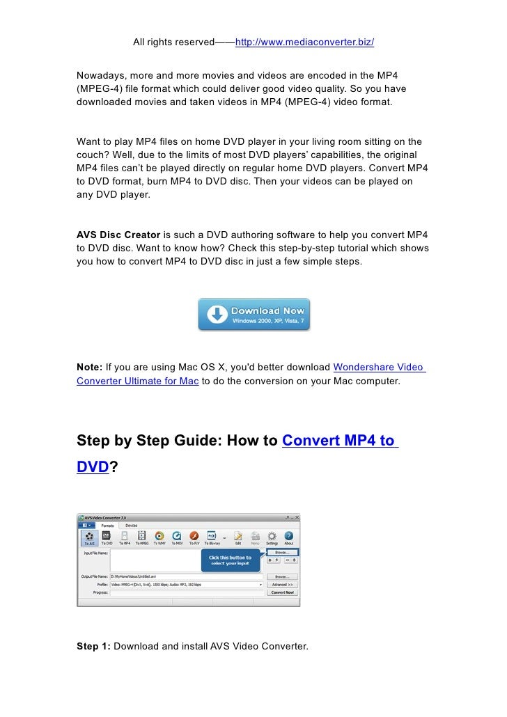 How to convert mp4 to dvd