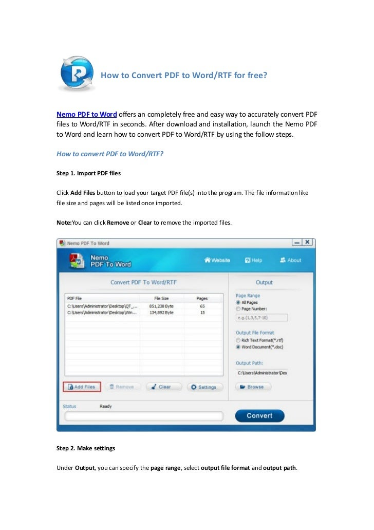How to Convert PDF to Word/RTF for free?Nemo PDF to Word offers an completely free and easy way to accurately convert PDFf...