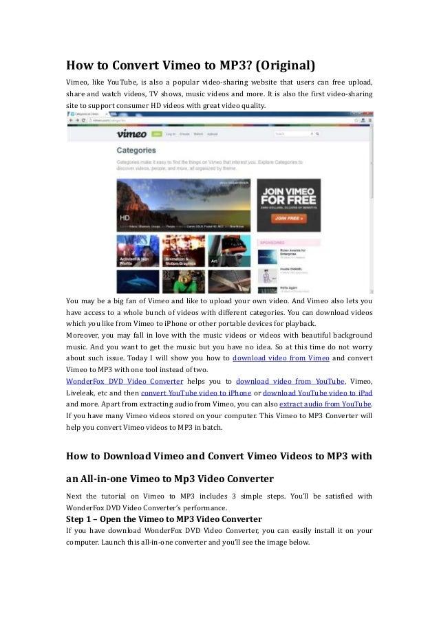 How to convert vimeo to mp3 (original)