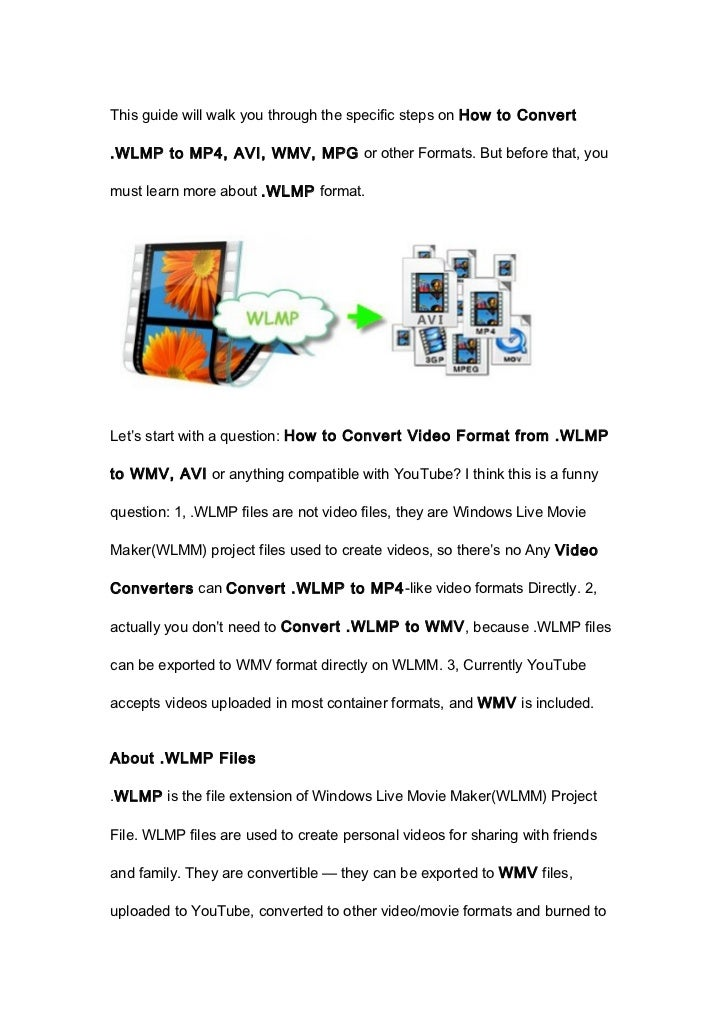 This guide will walk you through the specific steps on How to Convert.WLMP to MP4, AVI, WMV, MPG or other Formats. But bef...