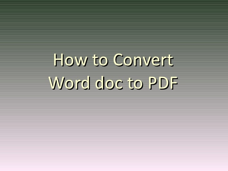 How to Convert Word doc to PDF