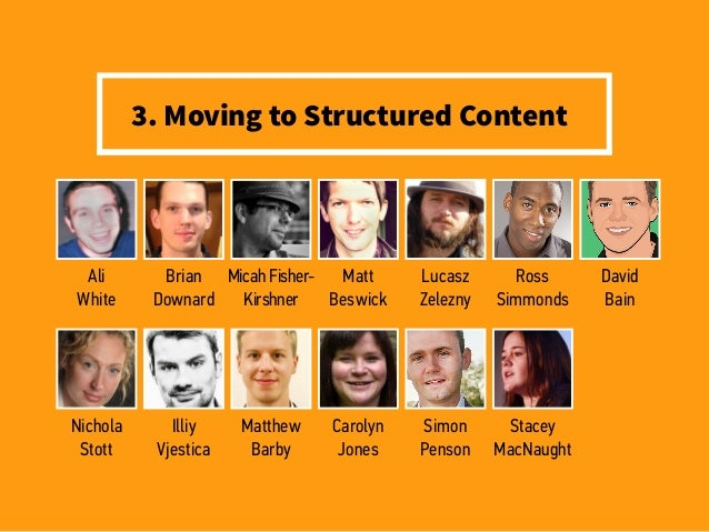 3. Moving to Structured Content Ali White Nichola Stott Brian Downard Illiy Vjestica Micah Fisher- Kirshner Matthew Barby ...