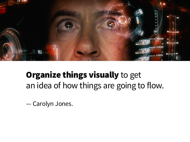 Organize things visually to get an idea of how things are going to flow. — Carolyn Jones.