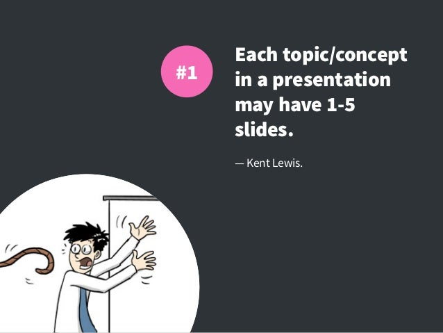 Each topic/concept in a presentation may have 1-5 slides. — Kent Lewis. #1