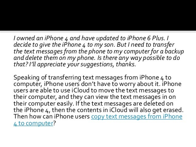 How to Copy Text Messages from iPhone 4 to Computer