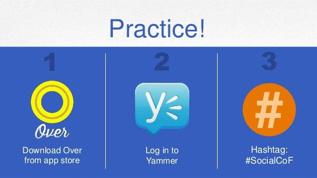 Practice! Download Over from app store Log in to Yammer Hashtag: #SocialCoF # 1 2 3