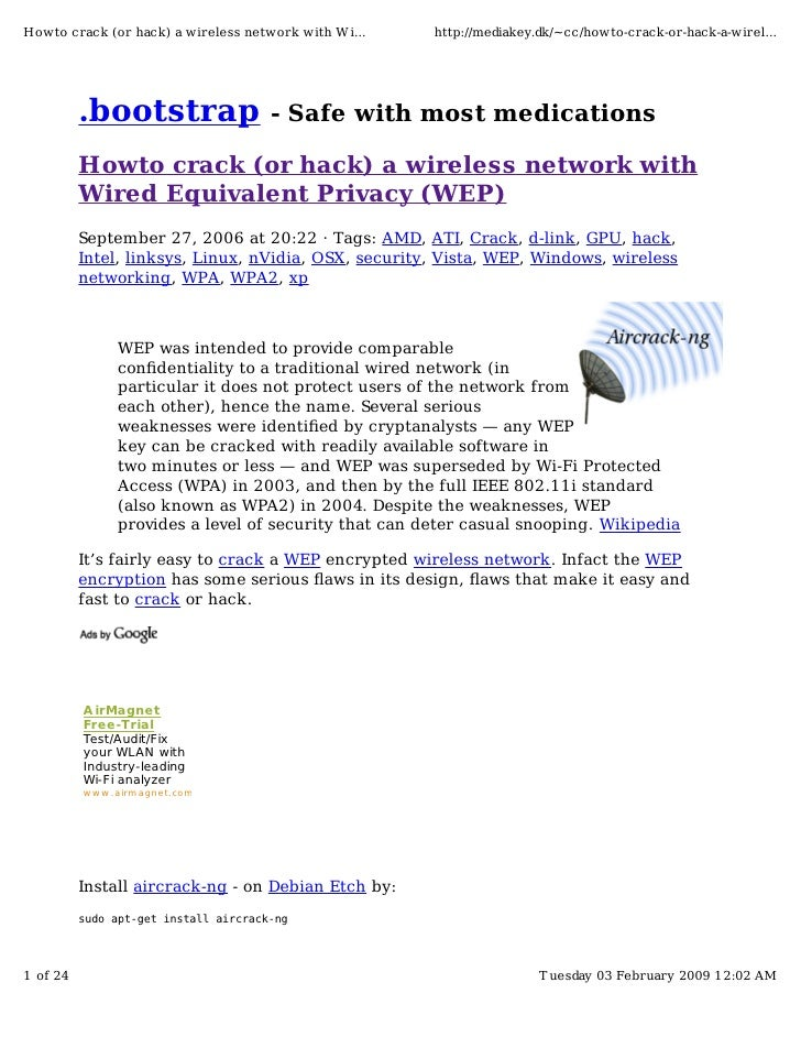 Howto crack (or hack) a wireless network with Wi...    http://mediakey.dk/~cc/howto-crack-or-hack-a-wirel...              ...