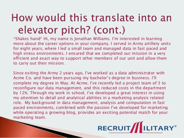 How to Craft an Effective Elevator Pitch as a Military Veteran – Elevator Pitch Example