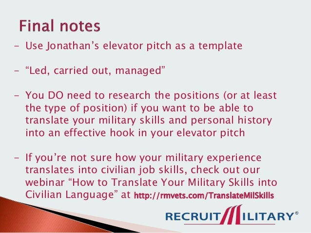 how to craft an effective elevator pitch as a veteran