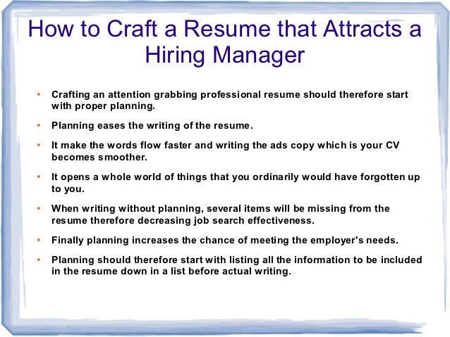 how to make a resume that attracts