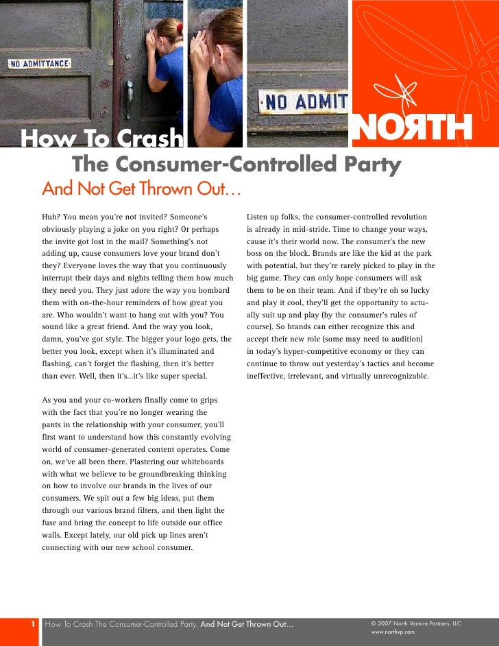 How To Crash             The Consumer-Controlled Party     And Not Get Thrown Out…     Huh? You mean you're not invited? S...