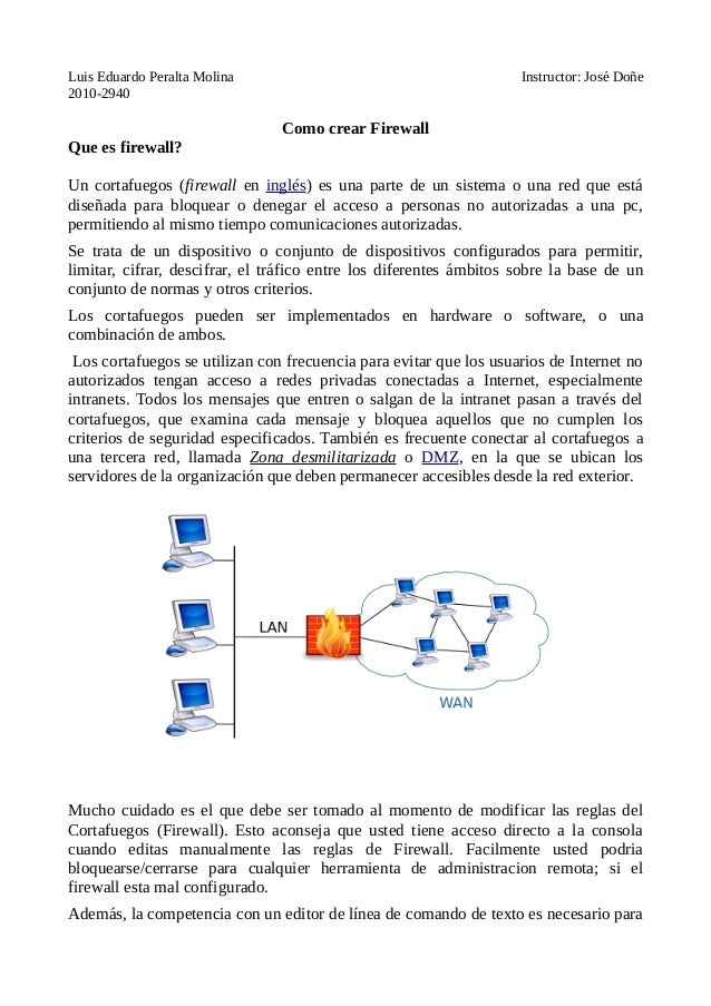 Luis Eduardo Peralta Molina Instructor: José Doñe 2010-2940 Como crear Firewall Que es firewall? Un cortafuegos (firewall ...