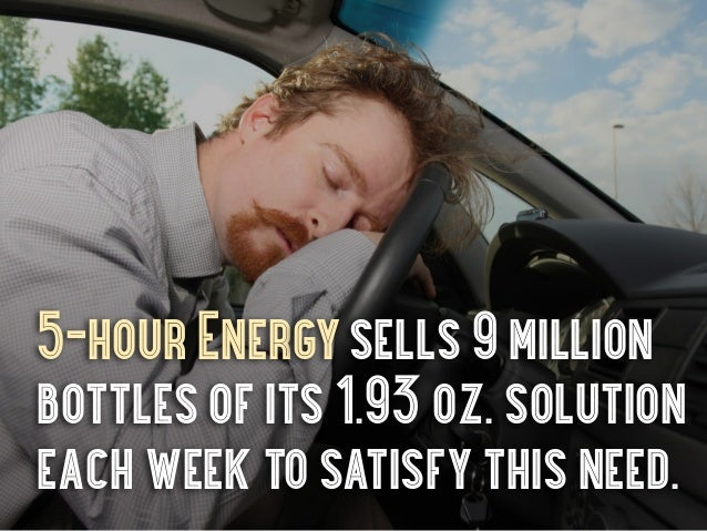 5-hour Energy sells 9 millionbottles of its 1.93 oz. solutioneach week to satisfy this need.