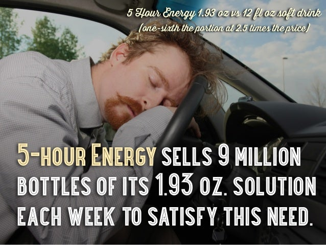 5 Hour Energy 1.93 oz vs 12 fl oz soft drink             (one-sixth the portion at 2.5 times the price)5-hour Energy sells...