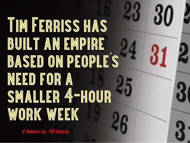 Tim Ferriss hasbuilt an empirebased on people'sneed for asmaller 4-hourwork week  4 hours vs. 40 hours