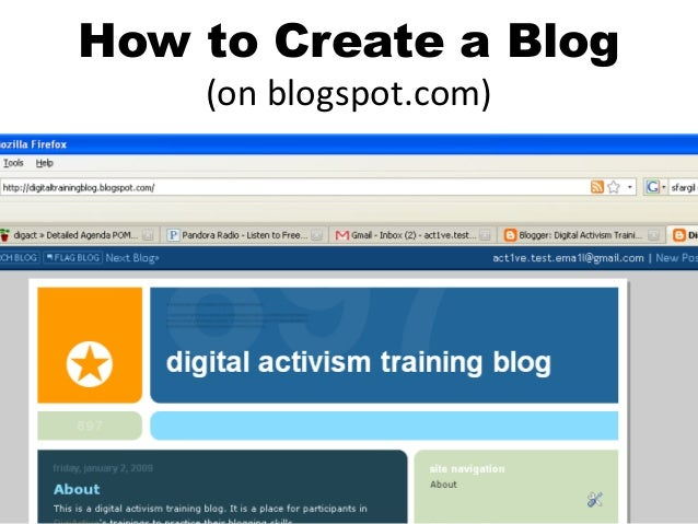 How to Create a Blog (on blogspot.com)