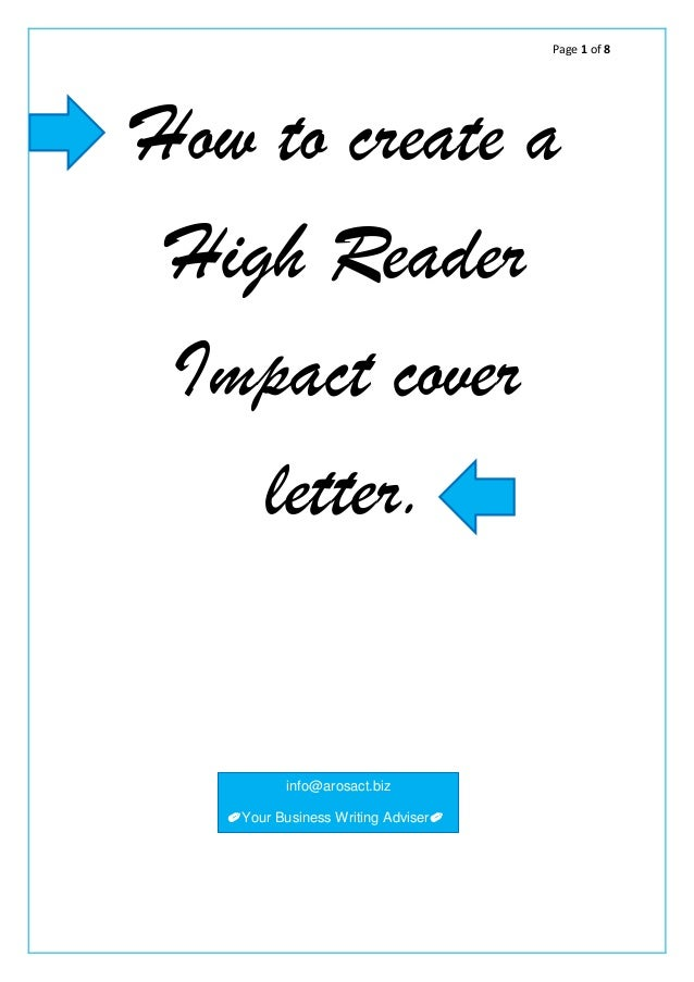Page 1 Of 8 How To Create A High Reader Impact Cover Letter. Info@ ...  Create Cover Letter