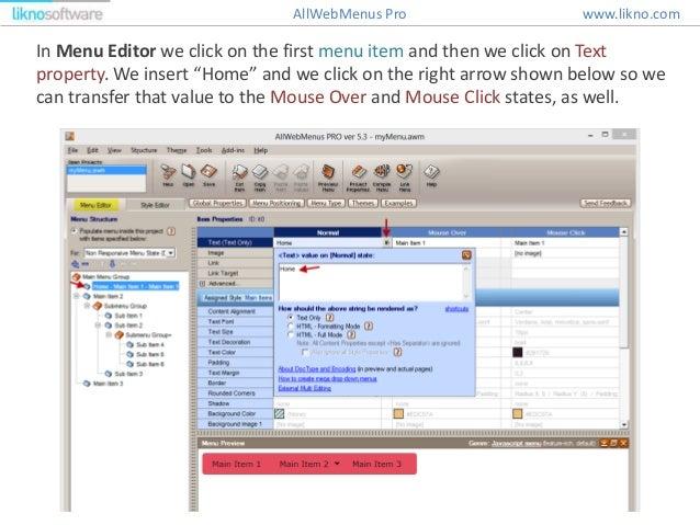 How to create a JavaScript menu