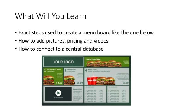 create digital menu boards using powerpoint