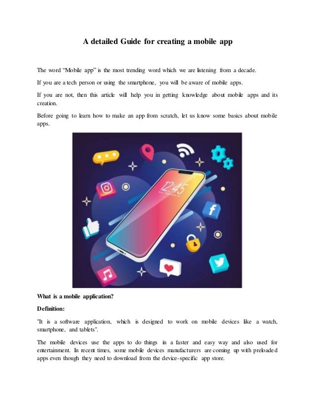 """A detailed Guide for creating a mobile app The word """"Mobile app"""" is the most trending word which we are listening from a d..."""