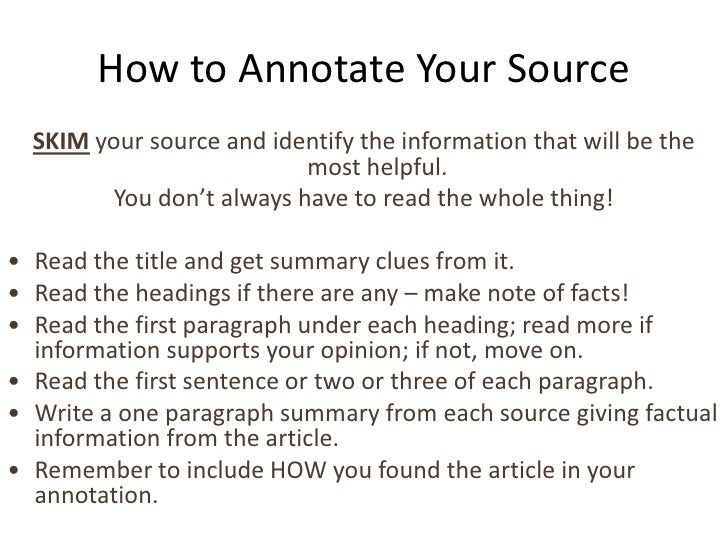 How to annotate an annotate bibliography