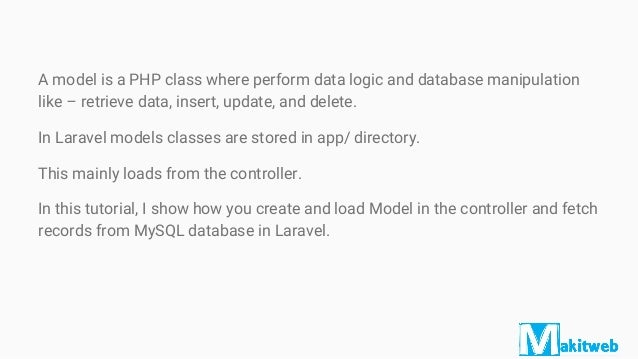 How To Fetch Data From Database Using Model In Laravel