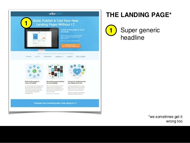 THE LANDING PAGE*  1 2  1  Co-branding  2  Contextual welcome  3  Author reinforcement  3  CONVERSION LIFT 33%  *full of c...