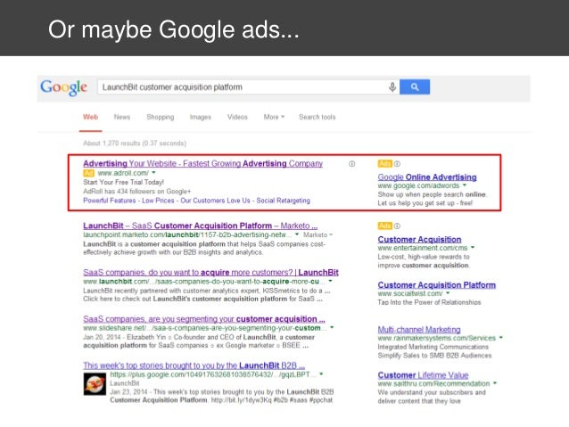 Or maybe Google ads...