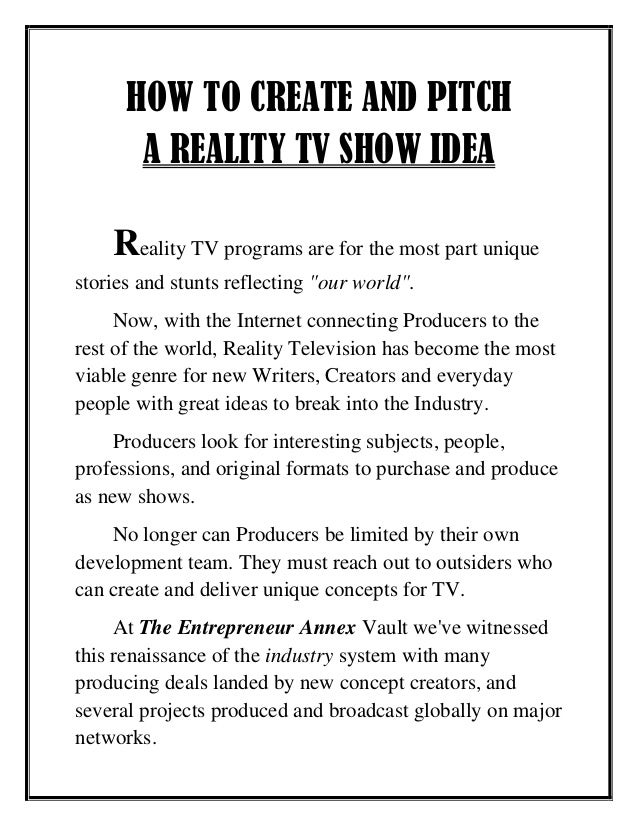 How To Pitch A Reality Show
