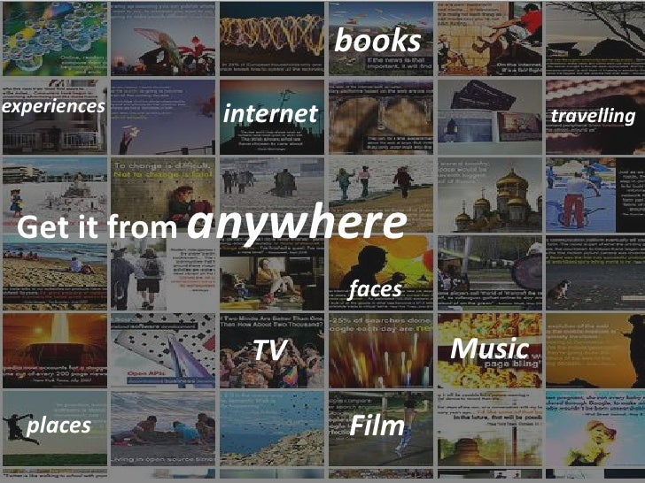 books experiences   internet                   travelling      Get it from anywhere                          faces        ...