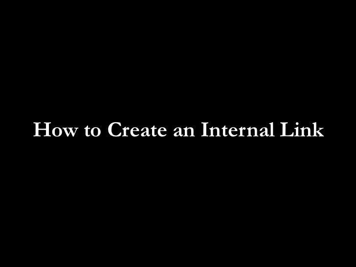 How to Create an Internal Link