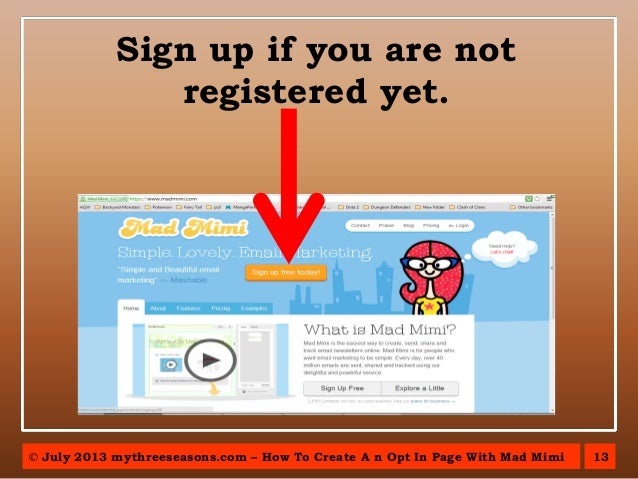 how to create mailchimp opt in page