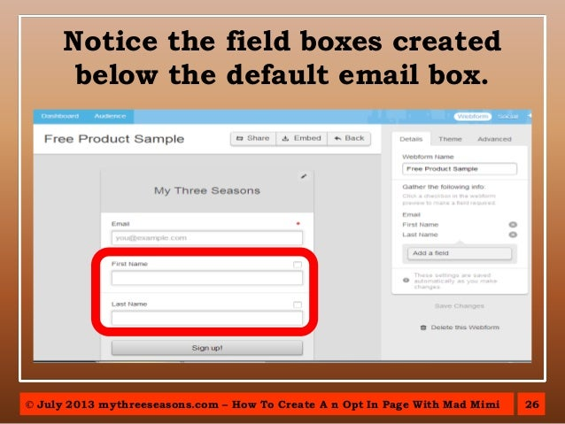 how to create mail chimp opt in page